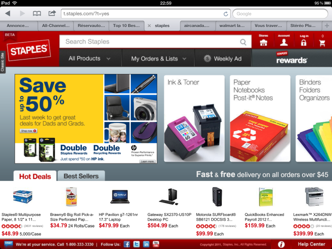staples screenshot Montreal TCommerce article